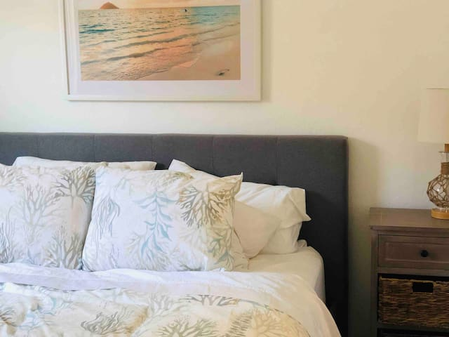 Serenity and soft bedding make for a great night sleep.