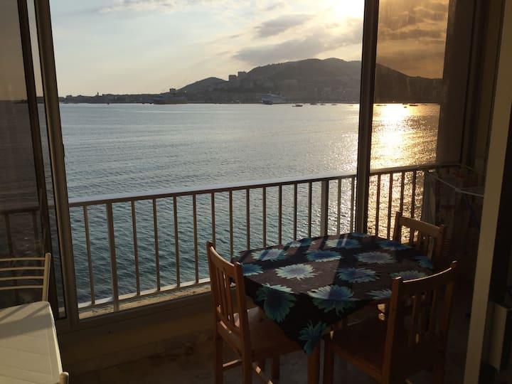 Studio, baie d'Ajaccio, vue mer, direct plage