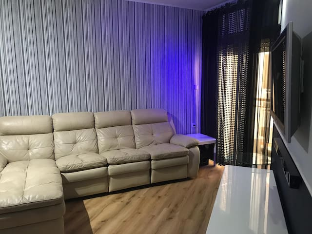 The living room and the balcony