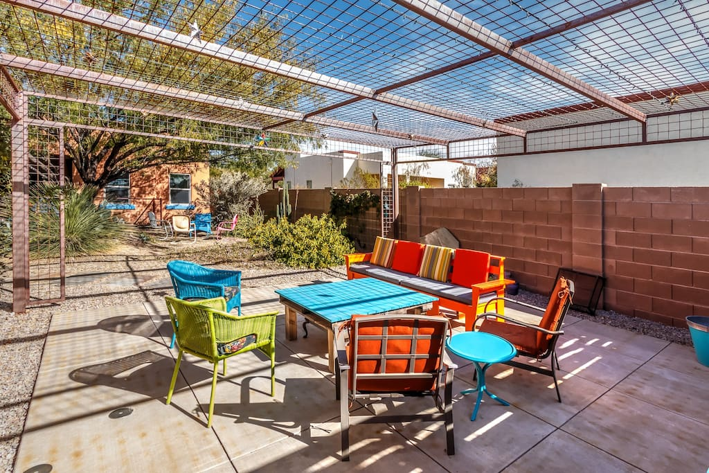 Guests can enjoy the colorful patio.