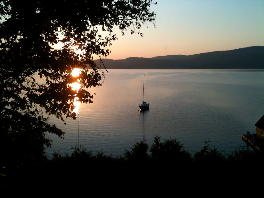 Sunrise seen from driveway. Mooring or dock space available with reservation.