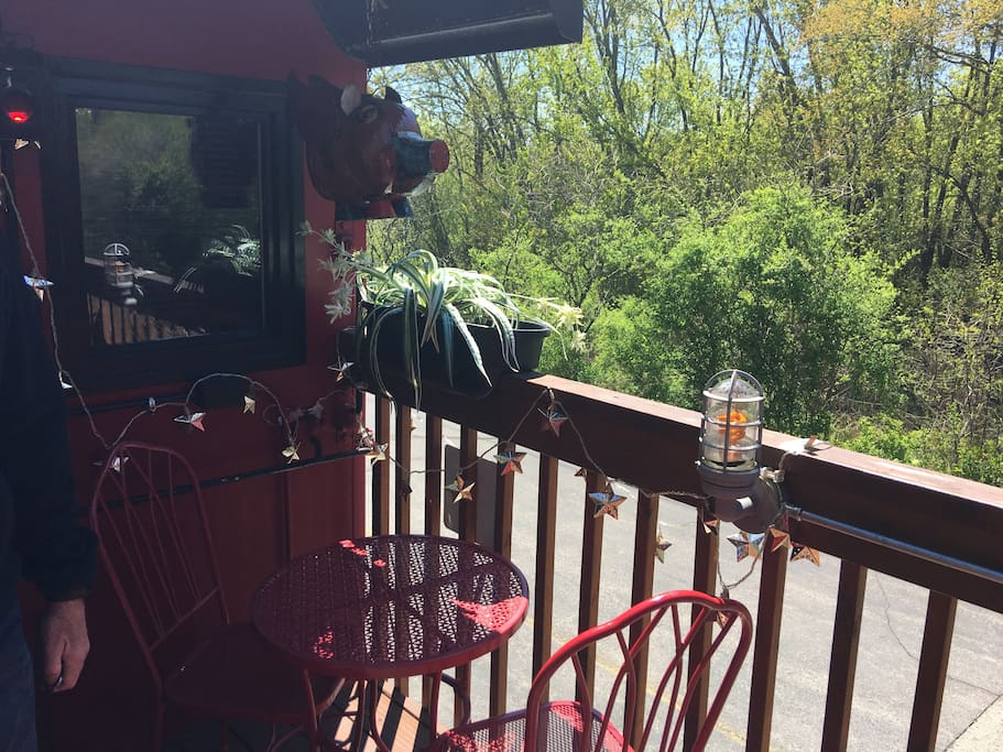 Bistro table and view of nature preserve to the South of the caboose. Parking space is located here as well.