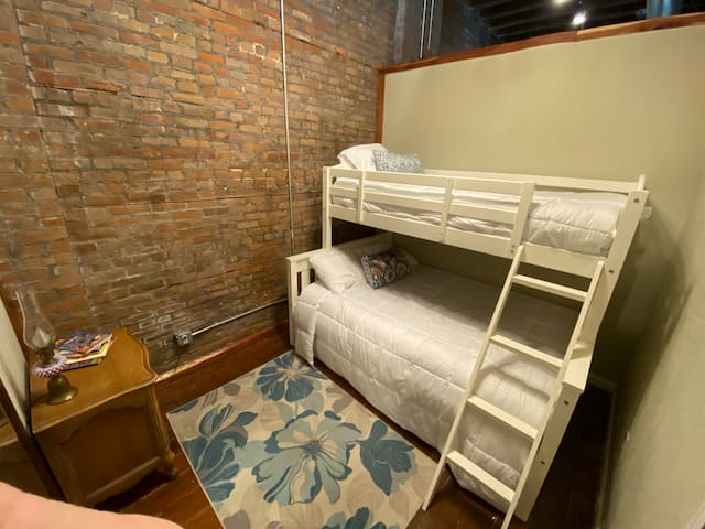 Front Bedroom - fitted with a twin-over-full bunk bed!