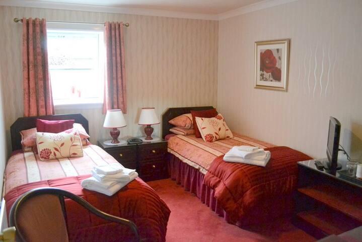 En suite twin bedroom.  £40 pppn R.O. -  £50 B&B.