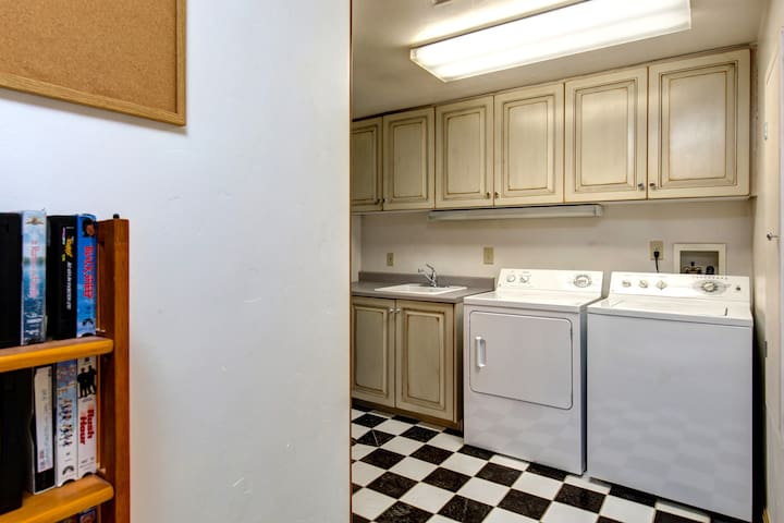 The large laundry room offers lots of storage.