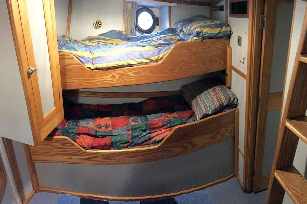 A further four bunks are available in two other cabins linked by a door.