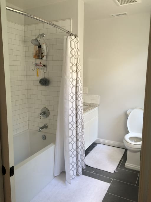 New tree house suite private bathroom with upscale features!   It has granite counter, shower/tub combo featuring subway tiles!