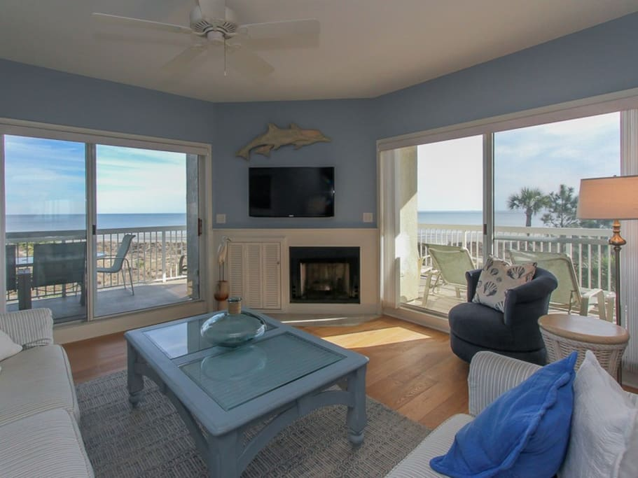Living Room with Direct Ocean Views at 313 Barrington Court