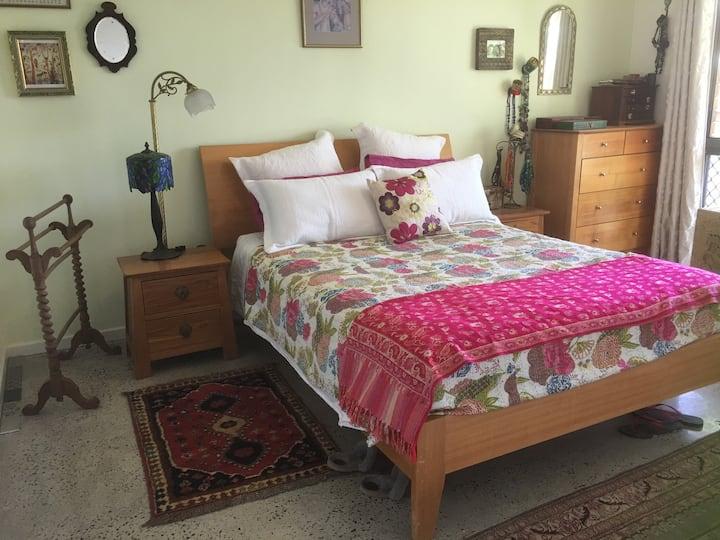 Beautiful bedroom overlooking the garden