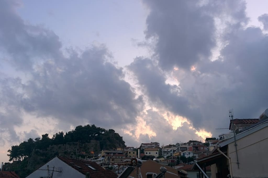 The view from the balcony of the 2nd floor... Parga's castle...