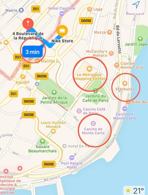 Distance by walking to Monaco - Monte Carlo