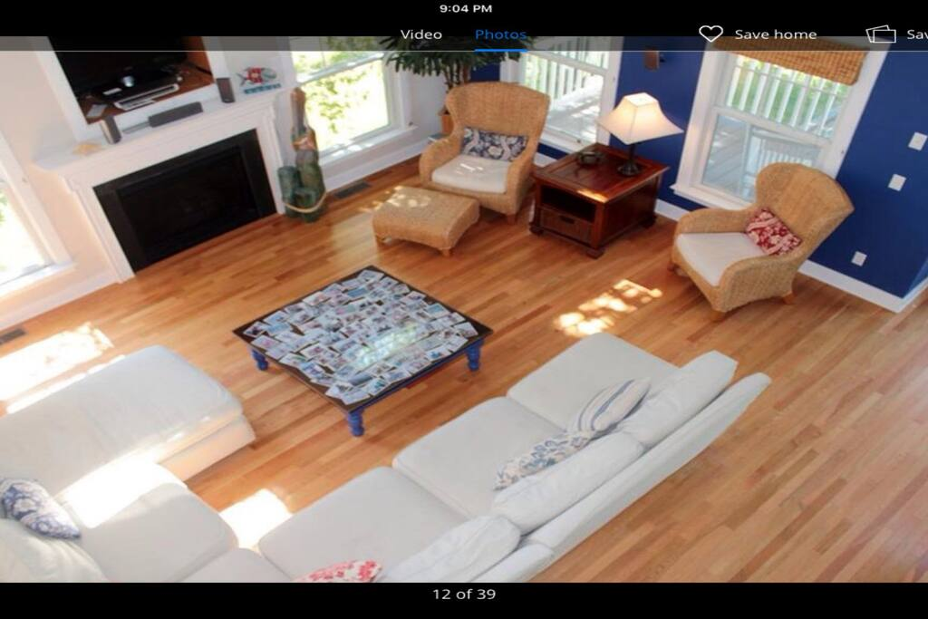 Comfortable entertainment great room  With 20 ft ceiling, decorated with nautical theme