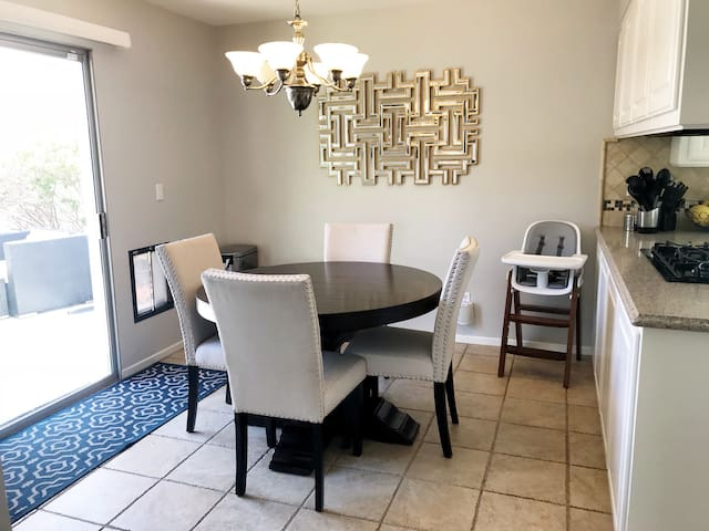 Dining area - table can expand to seat 6.