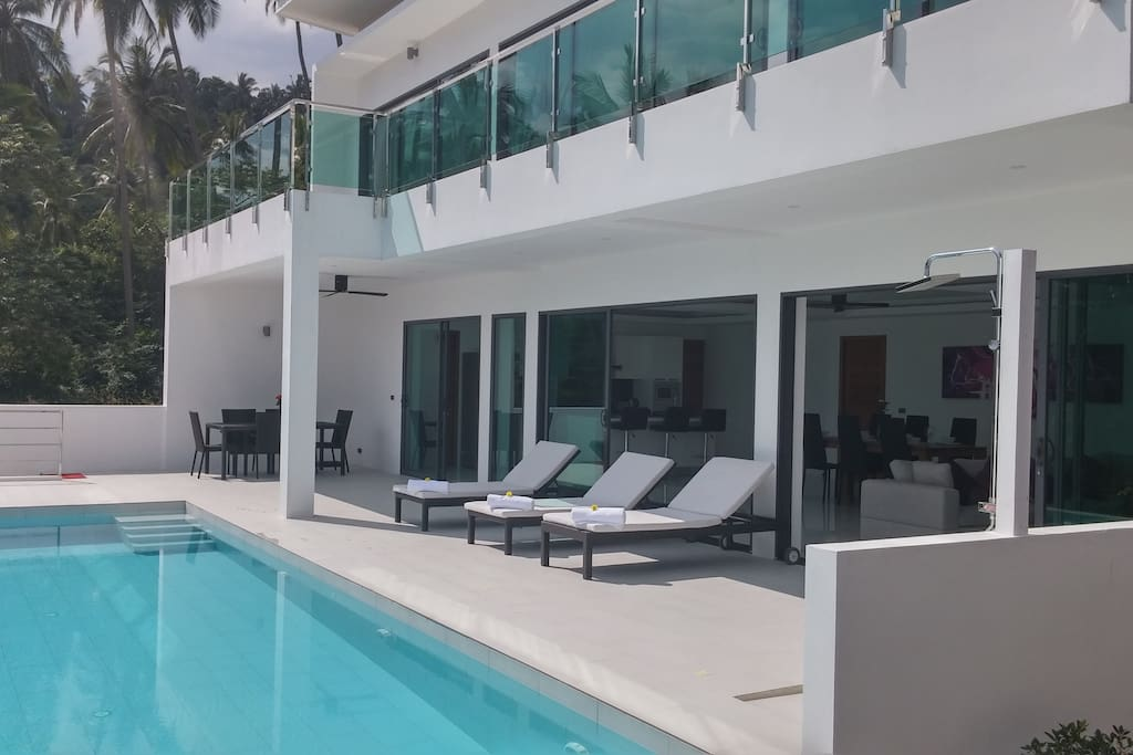 Private pool and terrace with upper balcony from bedrooms.