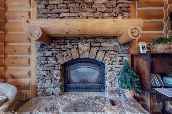 Stack Rock Fireplace with remote control.