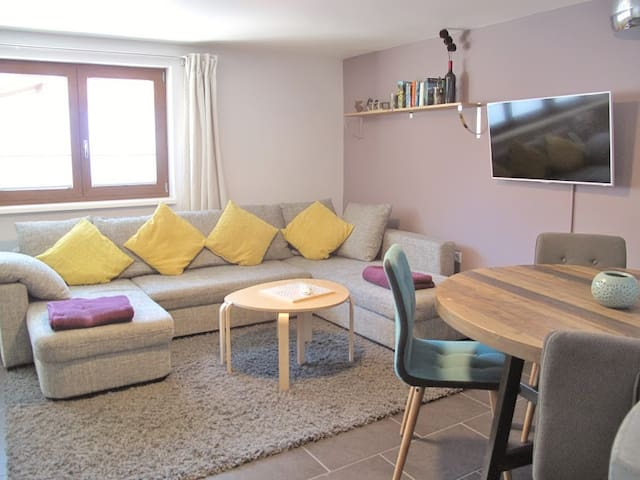 Family lounge with smart TV and DVD player