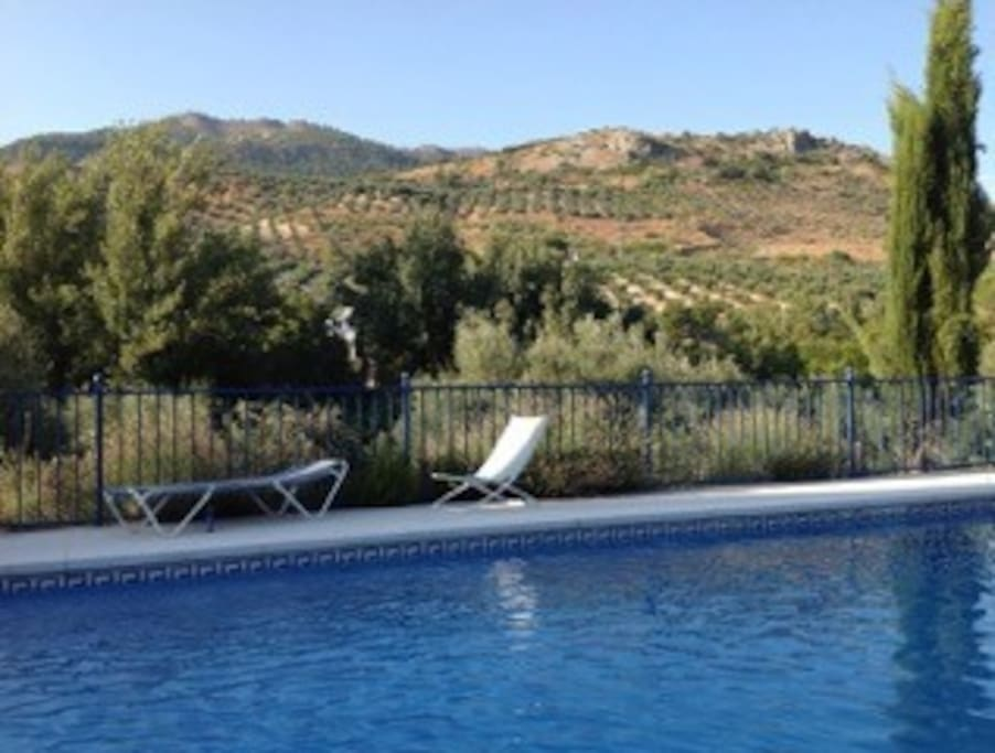 Gated 50 square meter pool with lovely views of the Sierra Subettica National Park