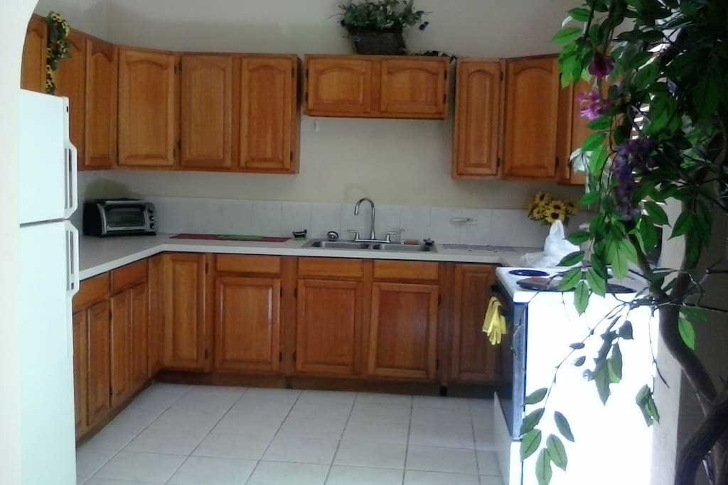 This kitchen comes complete with fridge, stove and plenty cabinets space.