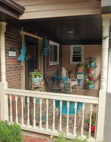 The welcome center... our front porch!
