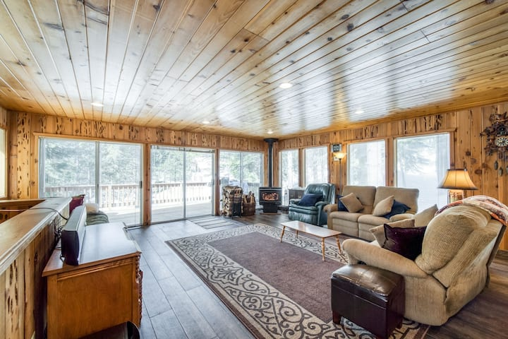 Rustic home w/ a wood stove, private dry sauna, & two decks w/ forest views!