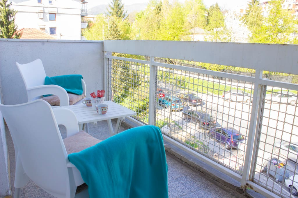 Balcony, quite place to get rest and drink coffee.
