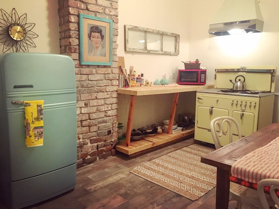 Vintage kitchen with Chambers Stove, farmhouse sink