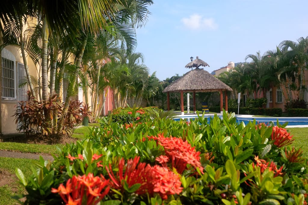 Our condo complex as you walk in  Pool and palapa