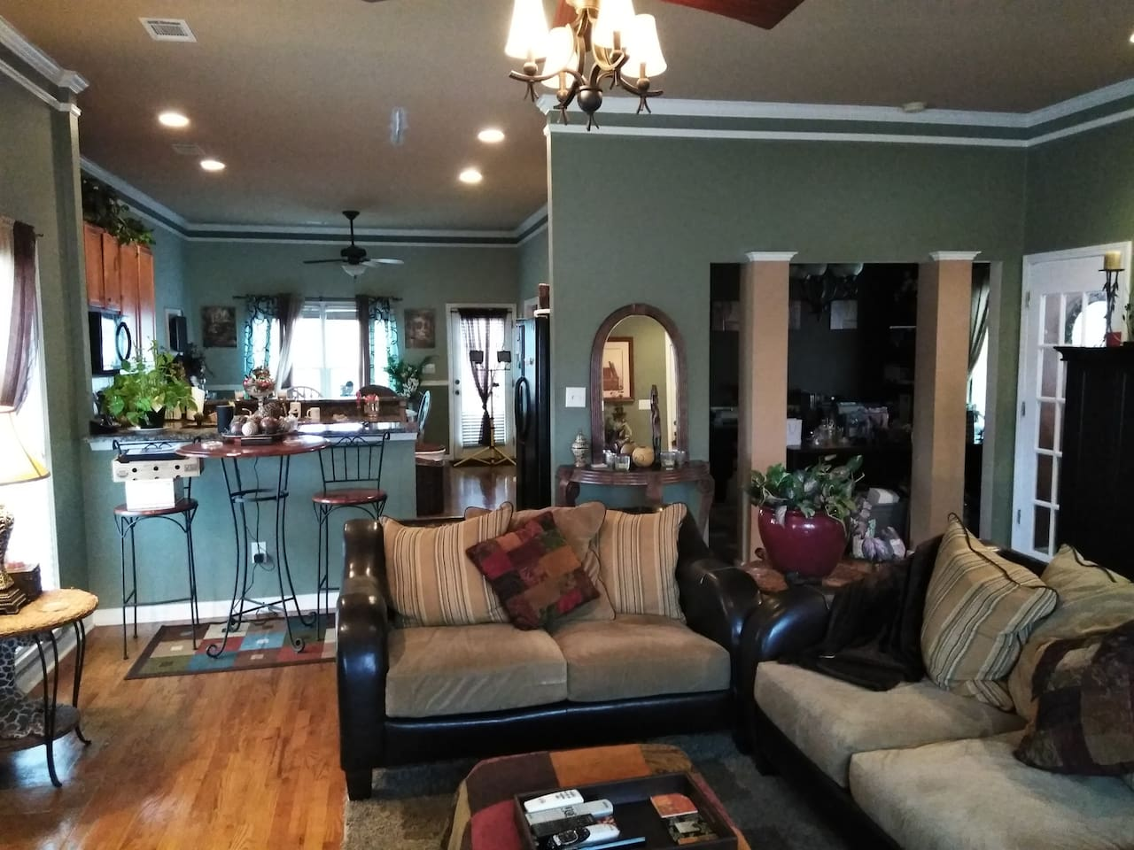 Very spacious living room and kitchen area with access to outside deck.