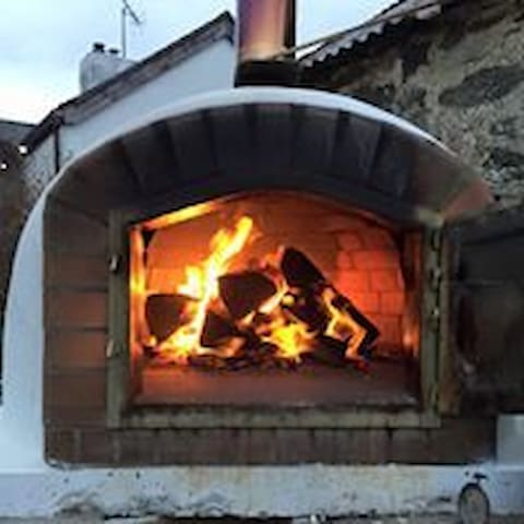 James's pizza oven in motion.  these have to be the best pizzas weve eaten outside of Italy :)