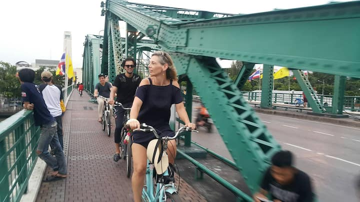 Bangkok historical bridge by bicycle