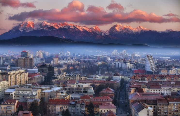 northern side of Ljubljana city - soft touch of mountains - view from Castle