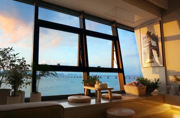[有艺见-夕照] 机场环岛五缘湾飘窗海景,观潮汐,跨海大桥,遥望集美夜景,著名画家作品主题