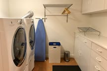 You're welcome to use the laundry machines during your stay. There is also a sink next to the dryer for dishes, etc.