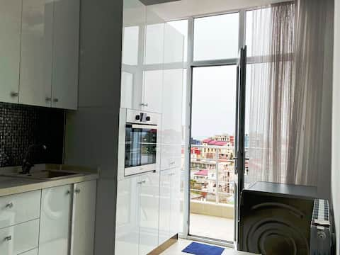 newly renovated, bright apartment with sea view.