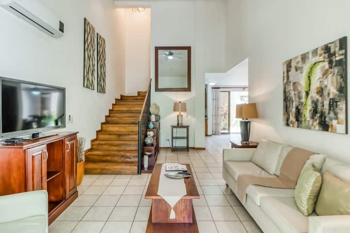 Amazing Villa with garden view and shared pool, AC!  steps from the beach