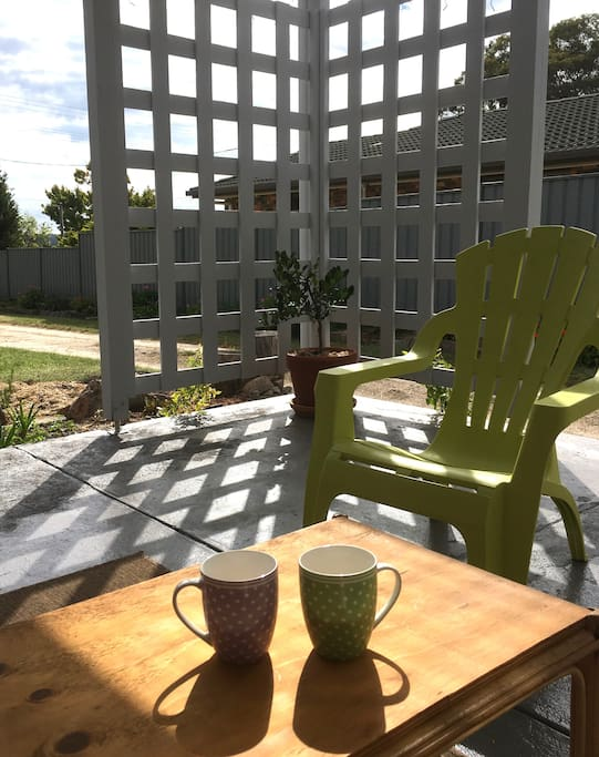 A relaxing cuppa can be enjoyed on the front patio.