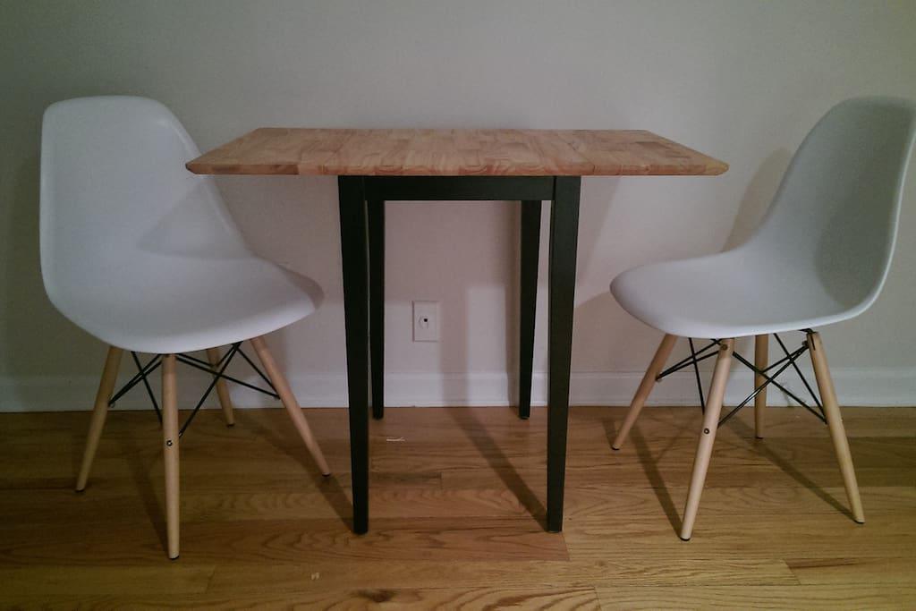 Breakfast table in living room