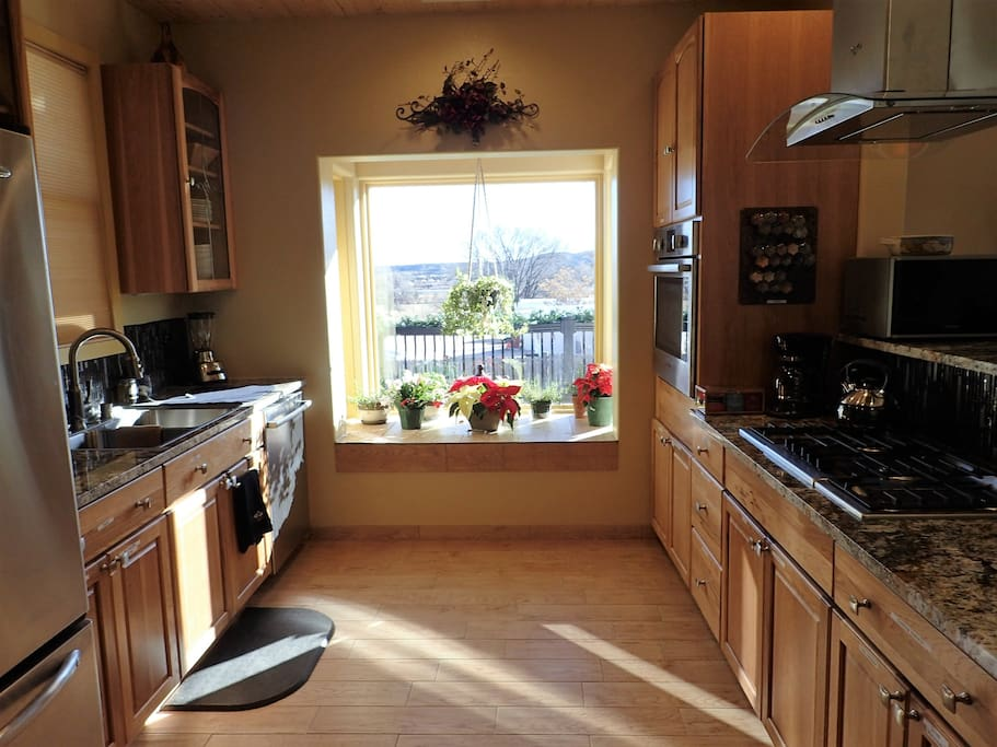 Kitchen area with bay window