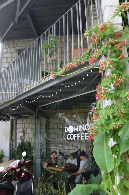Domino Coffee Garden right downstairs where you can sip a cup of traditional Vietnamese coffee