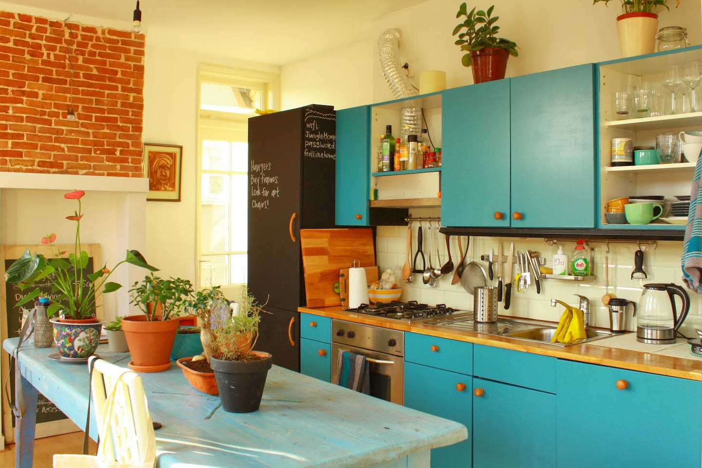 Kitchen in a very sunny day