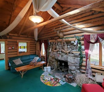 1913 LAKE VIEW  with dock, rustic  Log Cabin  Pets