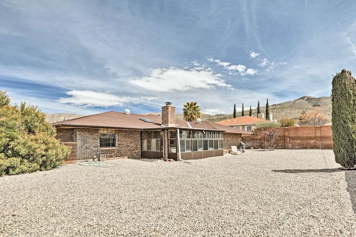 The spacious back patio area features classic desert zero-scaping.