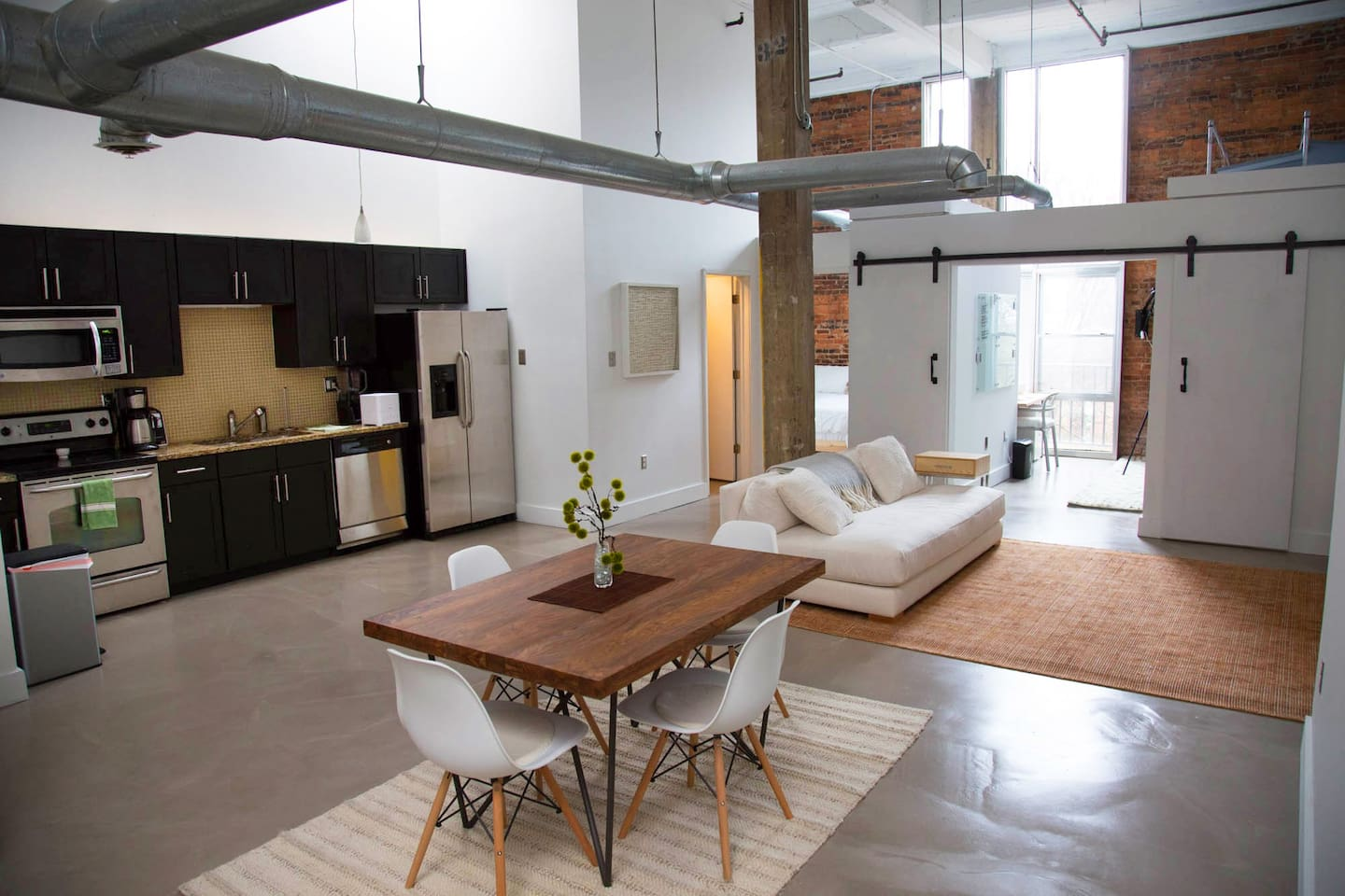 Bright open loft with 17 foot ceilings