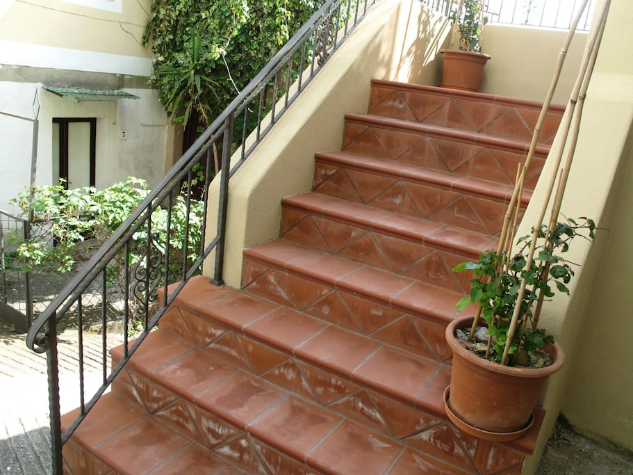 Terracotta steps and railing, local craftsmen of course!