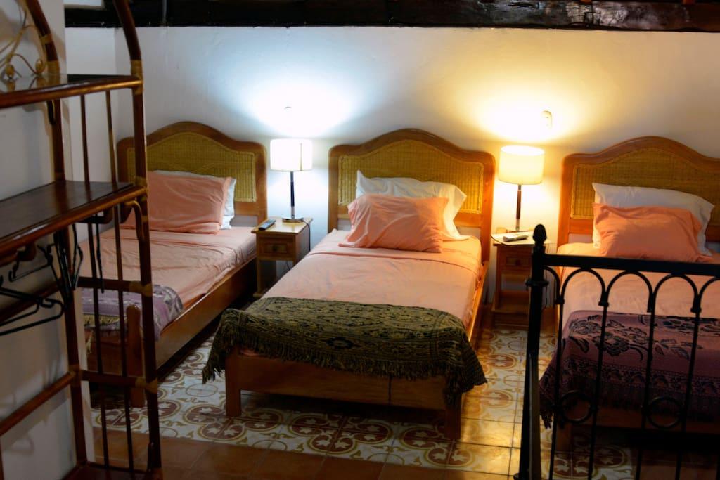 3 single beds
