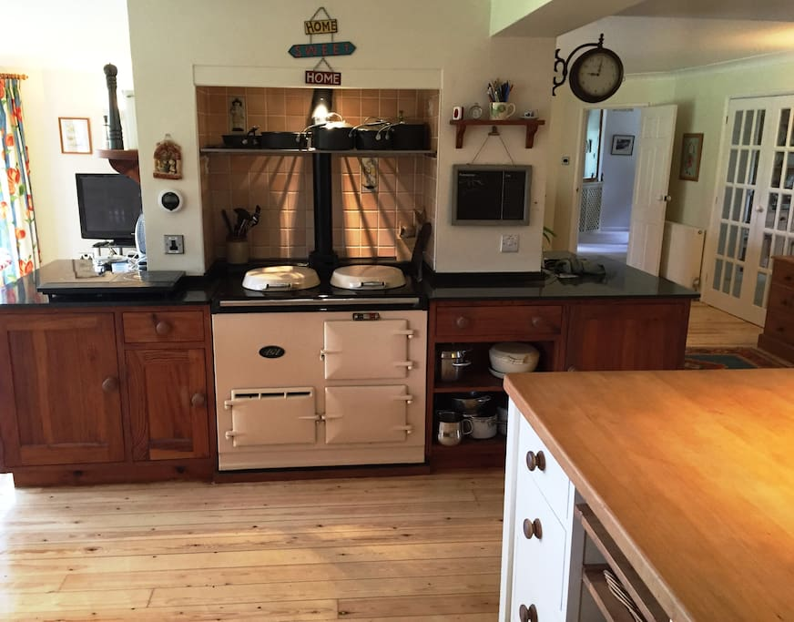 Kitchen with  Aga oven for winter cooking & warmth