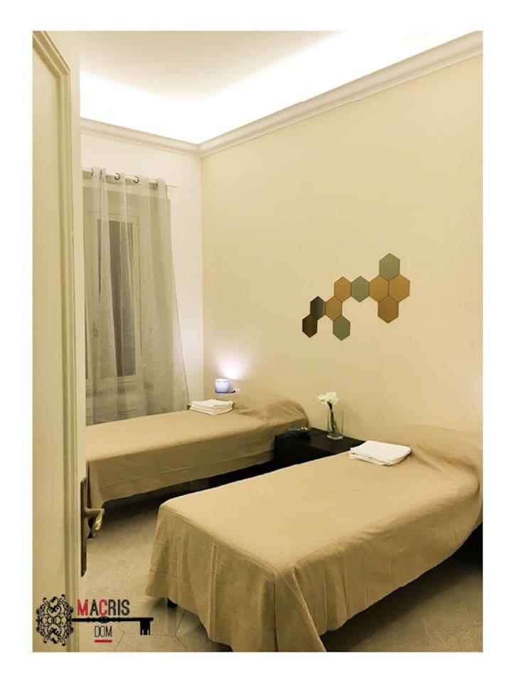 Spacious bedroom 20m²  - 2 single beds 90x200. Possibility to join beds for a King Size (180x200)