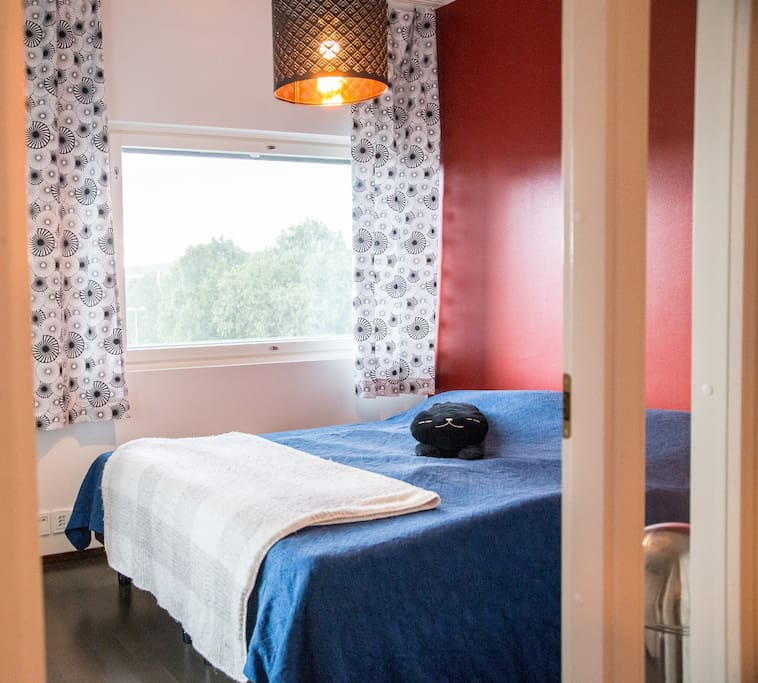Bedroom with king sized bed (220cm x 200cm), two single blankets and four different kind of pillows. Drawer and alarm clock (Philips Wake-up light).