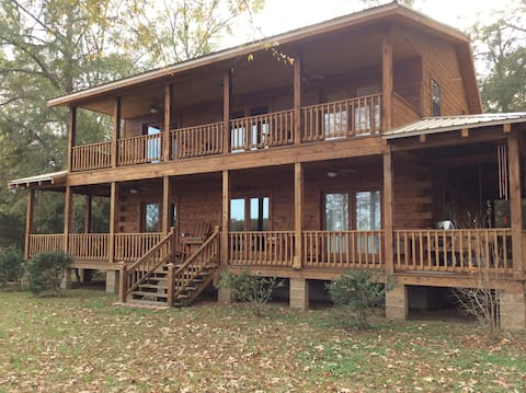 Amazing Two Story Log Cabin on the River
