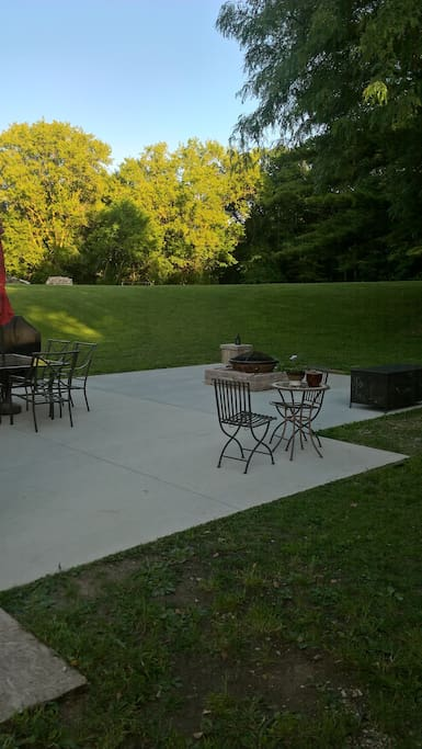 Back patio with six acres!
